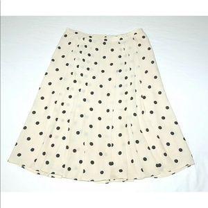 The Limited 100% Silk Black Ivory Polka Dot Skirt
